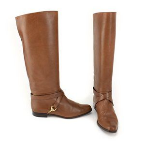 """GUCCI: Brown, Leather & Gold """"Horsebit"""" Tall Boots"""
